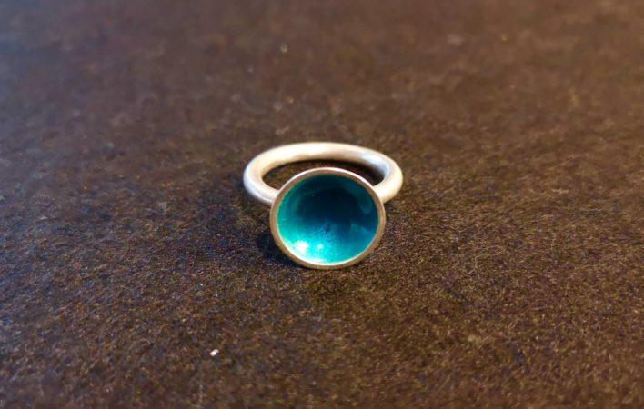 Bague-argent-925-émail-turquoise-bleu
