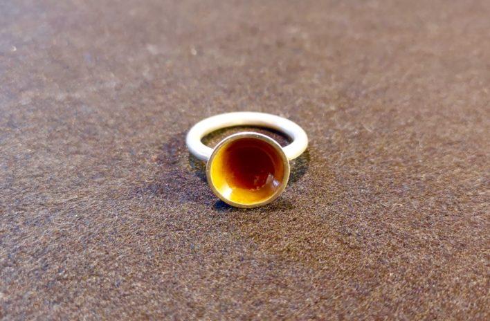 Bague-la-scandinave-émail-orange-argent-925