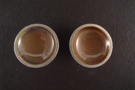Boucles d'oreilles rondes concaves émaillées sur argent 925