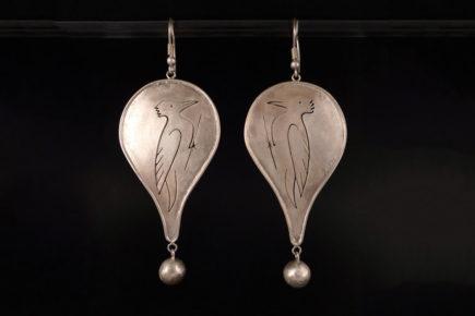 Boucles d'oreilles oiseaux pics vert en argent 925