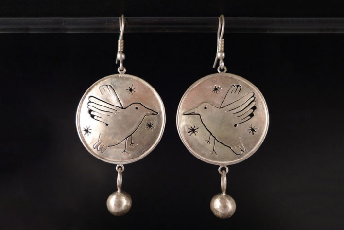 Boucles d'oreilles oiseaux corbeaux en argent 925