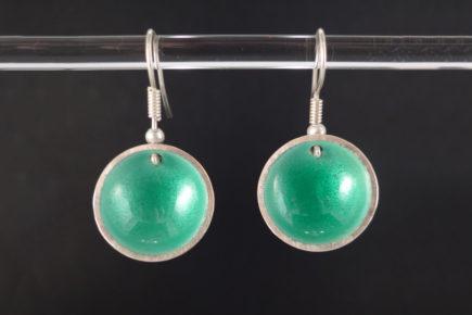 Boucles-d'oreille-rondes-concaves-vertes-en-argent-925