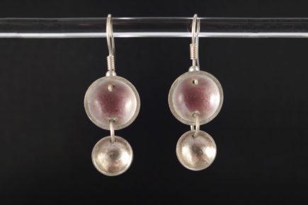 Boucles-oreilles-rondes-doubles-concaves-émaillées-sur-argent-925