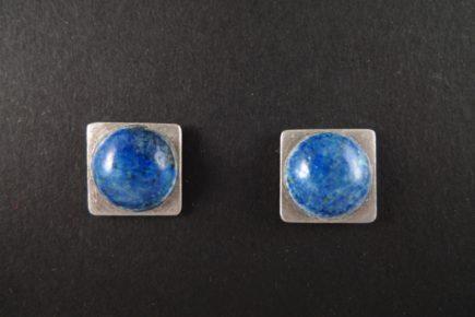 Boucles-oreilles-carrées-convexes-émaillées-sur-argent-925