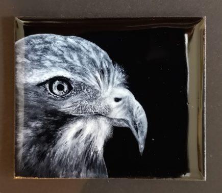 mignature grisaille aigle émail