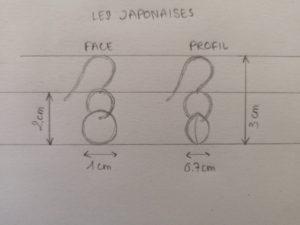 Croquis-japonaise-bijou-dessin-mesure-taille-boucles-d'oreilles